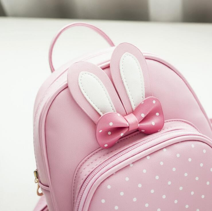 7845a36c89c9 Bunny Cute Backpack Women Leather Polka Dot Bow Back Bag Pink School ...
