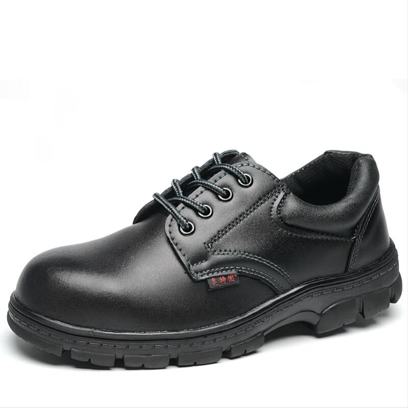 mens black steel toe cap work safety shoes large size
