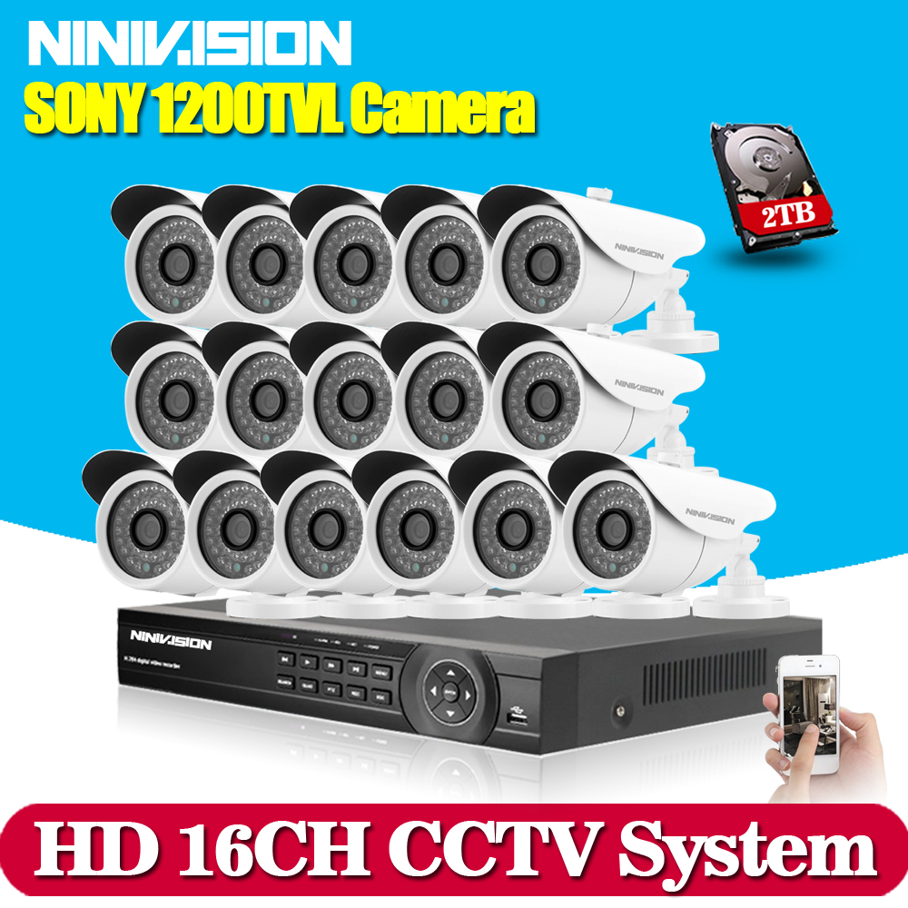 16channel HDMI 1080P AHD 960H recording CCTV 16pcs SONY CCD 1200TVL security waterproof Camera video surveillance kit System 1TB