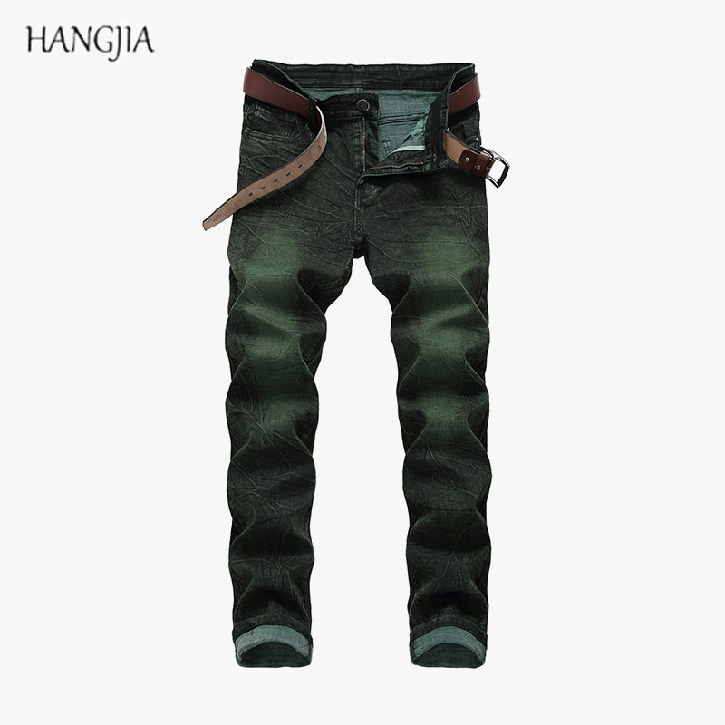 Men's Tie Dyed Slim Fit Jeans High Quality Fashion Personality Casual Gray Green High Elastic Moustache Effect Denim Trousers
