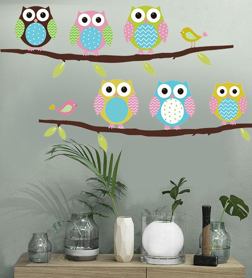 Owls Jungle Animals Wooden Bedroom Furniture Kids: Wall Sticker Tree Animals Bedroom Owl Butterfly Wall
