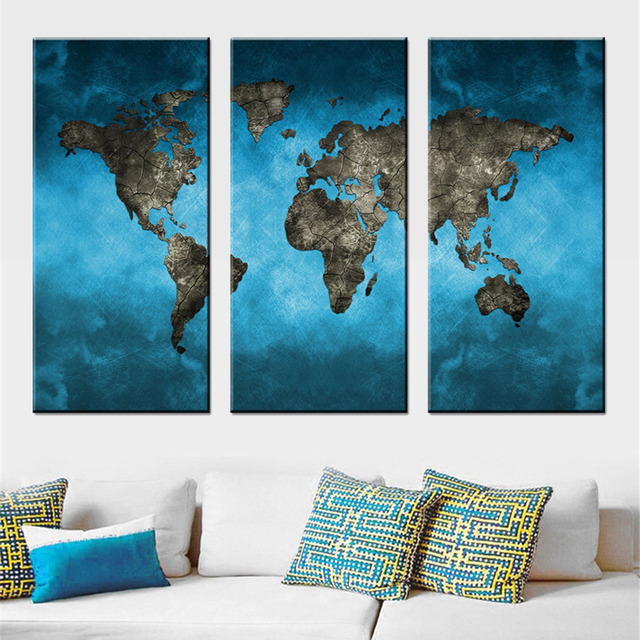 3 Panel Abstract World Map Canvas Printings Large Blue Global World on