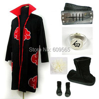 Free Shipping! Anime Naruto Akatsuki Conan Cosplay Costume Cloak, headband, ring, Headdress flower, Shoes