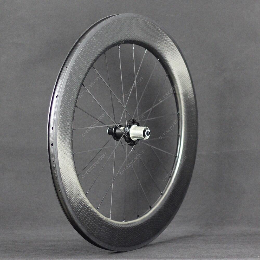 80mm Depth Dimple Carbon Wheels Tubular U Shape In 25mm Width 2 Years Warranty