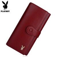 Playboy 2018 Wallet Luxury Brand Genuine Leather Women Wallets Female Card Holder Long Lady Clutch Carteira