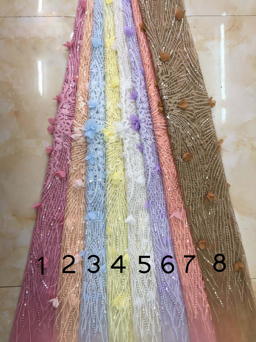 2019 New style French net lace fabric 3D flower African tulle mesh lace fabric high quality african lace fabric DYS118 in Lace from Home Garden
