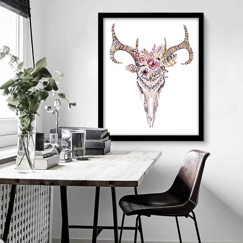 2 Panels Male and Female deer head Animal pictures painting by numbers with kits Draw on canvas for hoom room art wall decor