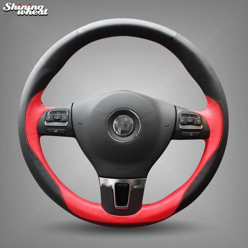 BANNIS Hand stitched Leather Steering Wheel Cover for Volkswagen Passat B7 CC Touran Magotan Sagitar VW