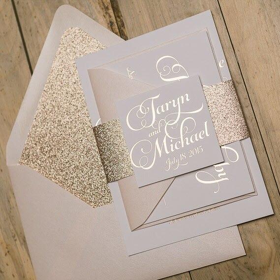 50 pieces handmade elegant shiny color pocket wedding invitations