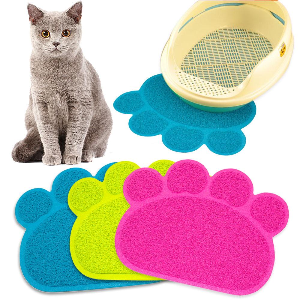 Impresión de la pata Perro Gato Litter Mat Cachorro Kitty Plato Plato de alimentación Bandeja de mantel de hojaldre Tidy Limpieza fácil Pad Sleeping Cama 3