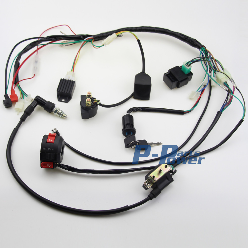 hight resolution of full electrics wiring harness coil cdi assembly 50 70 110cc atv quad bike buggy go kart coolster