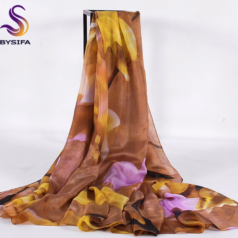 [BYSIFA] Winter Coffee Yellow Women Silk   Scarf   Spring Autumn Large Size Flower Long   Scarves     Wraps   Summer Beach Shawl Cover Up