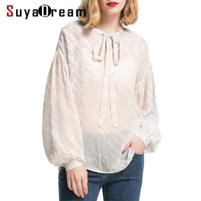 81604c1be8 Mulheres Blusa de Seda De 100% de SEDA REAL gola Laço chiffon Moda manga  longa