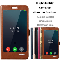 Window Smart Cover Case For Nokia Lumia 640 XL N640XL Top Quality Genuine Leather Magnet Flip