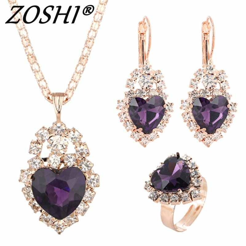 ZOSHI Heart Jewelry Sets Women Wedding Jewelry Set for Brides Gold-Color Zirconia Crystal Earring Pendant Necklace Ring Sets