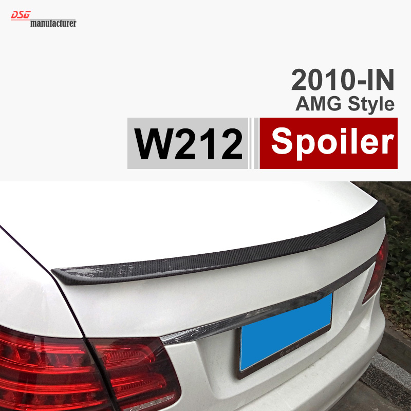 E CLASS W212 Gloss Black Carbon Fiber Trunk Spoiler for Mercedes 2010 - 2015  E200 E260 E300 E400 6x 3d gloss twill carbon fiber b pillar trim for mercedes benz fit e class w212 09 14