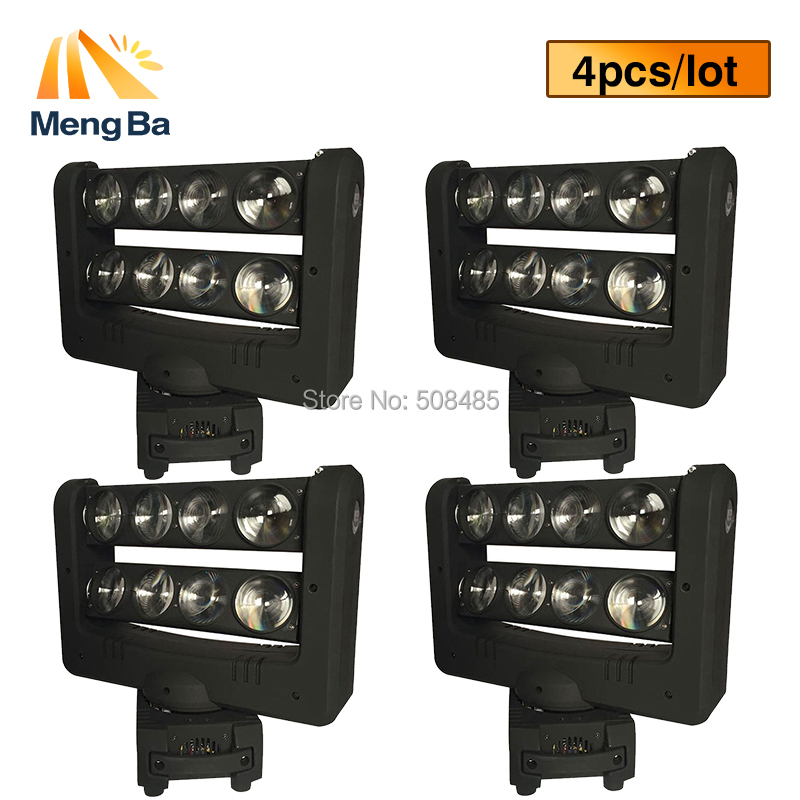4pcs/lot Super 8x10w CREE RGBW 4-In-1 Beam Light DMX Spider Light Double-Deck Moving Head Light Stage DJ /Bar/Home/Wedding