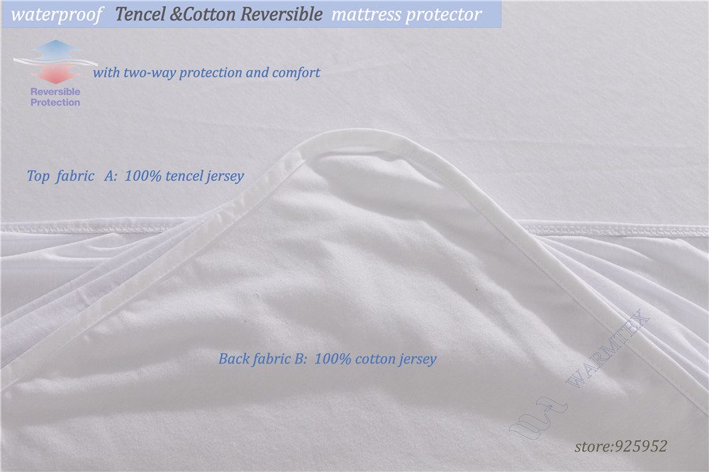 king size 200x200cm natural fabric Reversible Tencel Cotton cloth Mattress Protector/ Mattress Cover Waterproof