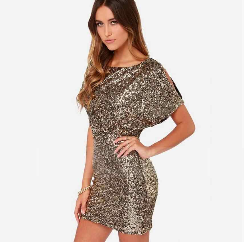 ... Summer Short Sequin Bodycon Dress 2018 Mini Sexy Ladies Backless Gold  For Women Clothing Paillette Night ... 14ce789015eb