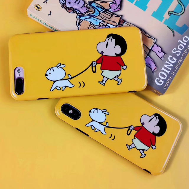 482d0d001c Crayon Shin-chan walk the dog Phone case For iphone X Case Lovely Cartoon  Cases For iphone X 7 8 6S 6 Plus Soft Full Back Cover