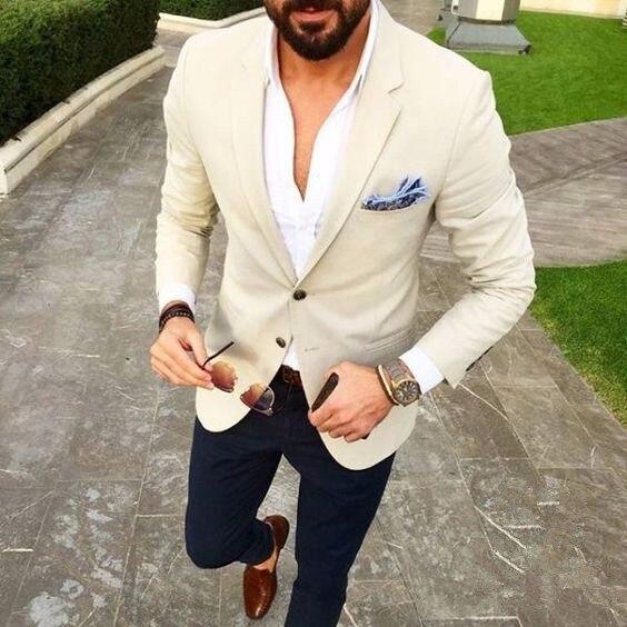 051fb392b7 US $93.99 |Su misura Abiti Da Uomo Beige Blazer Blu Navy Pantaloni 2 pezzo  Smoking Dello Sposo Slim Fit Mens Wedding Partito di Promenade Vestiti ...