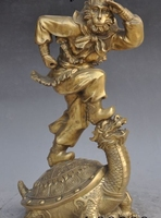 16 chinese myth brass monkey king Sun Wukong buddha stand dragon turtle statue