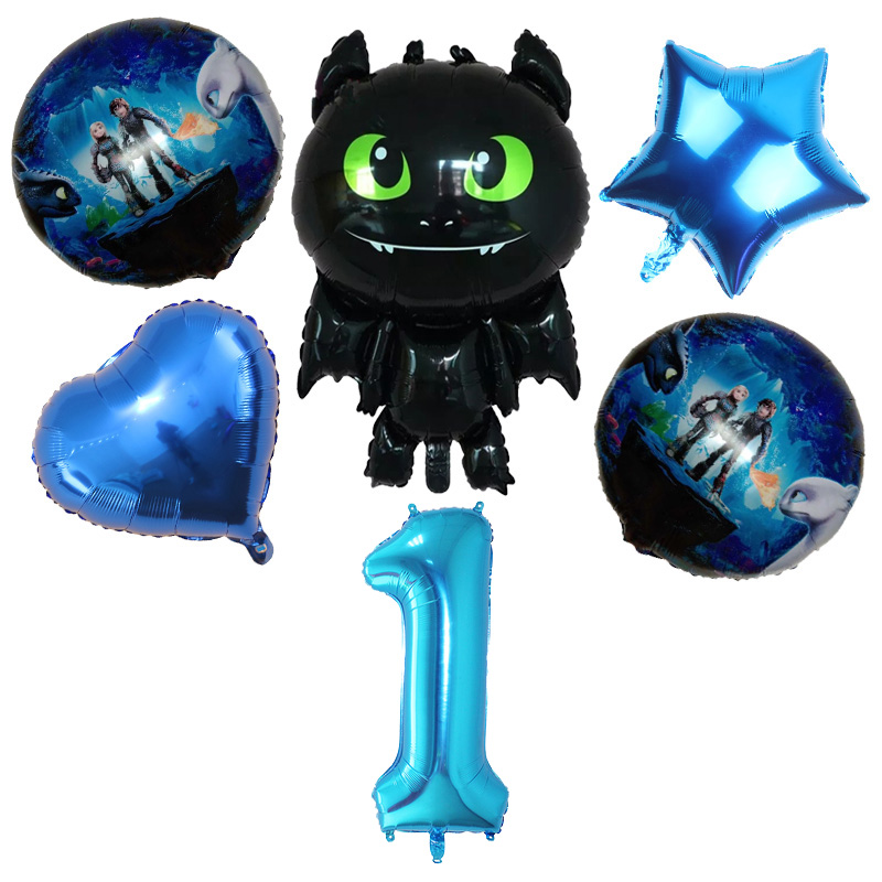 6pcs How To Train Your Dragon Toothless Foil Balloons Number 0-9 Kids Toys Ballons Birthday Wedding Anniversary Party Decoration