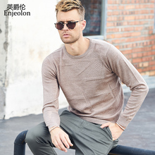 Enjeolon brand winter new knitted pullover Sweaters man o neck sweater wool men 3 color casual warm thick Sweater MY3233