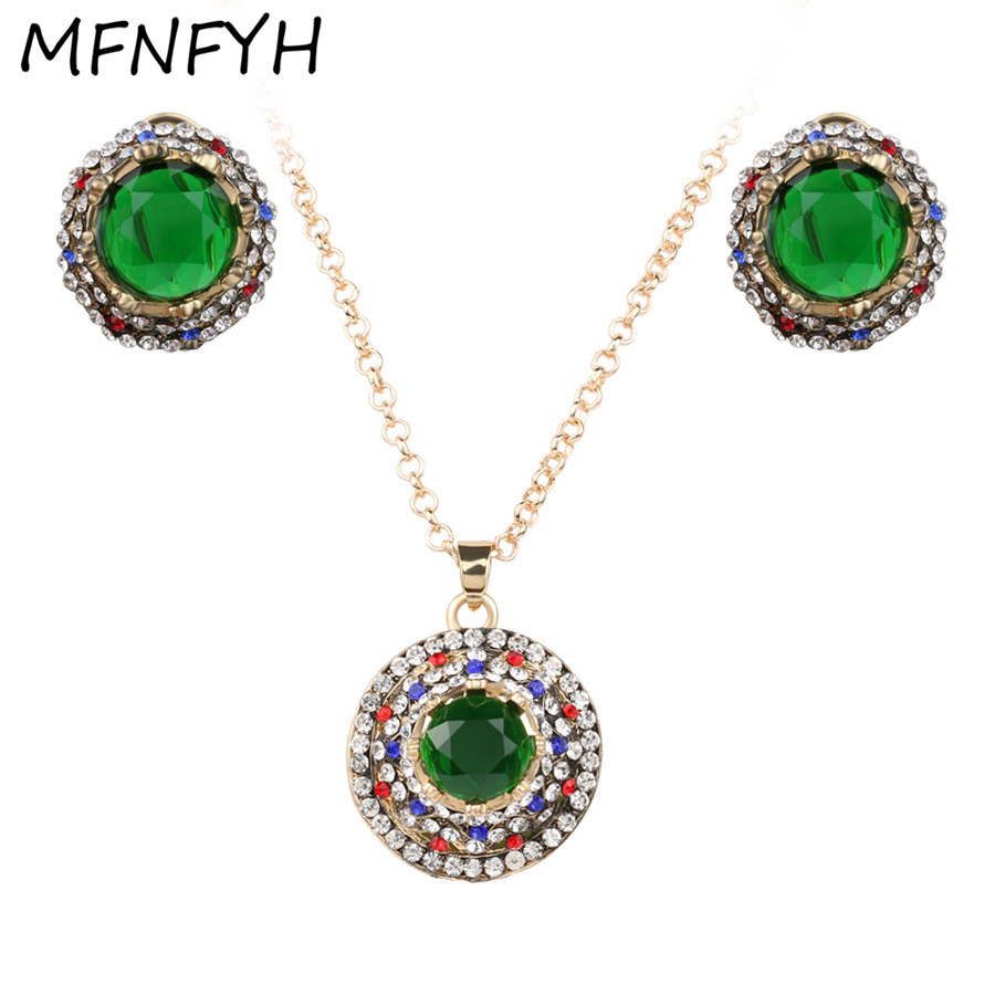 Bridal classics necklace sets mj 259 - Mfnfyh Indian Elegant Green Crystal Bridal Jewelry Sets Wedding Accessories Rinestone Round Gold Chain Necklace Earrings