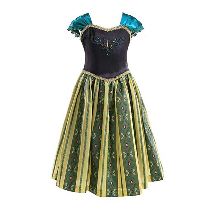 FNDPITAYA Girl Princess Anna Coronation Dress Summer Sleeveless Flower Embroidery Anna Cosplay Costume Girl Halloween Fantasy