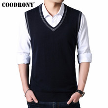 COODRONY Sweater Men 2019 Autumn Winter Soft Warm Cashmere Woolen Mens Sweaters Fashion V-Neck Sleeveless Vest Pull Homme 91021