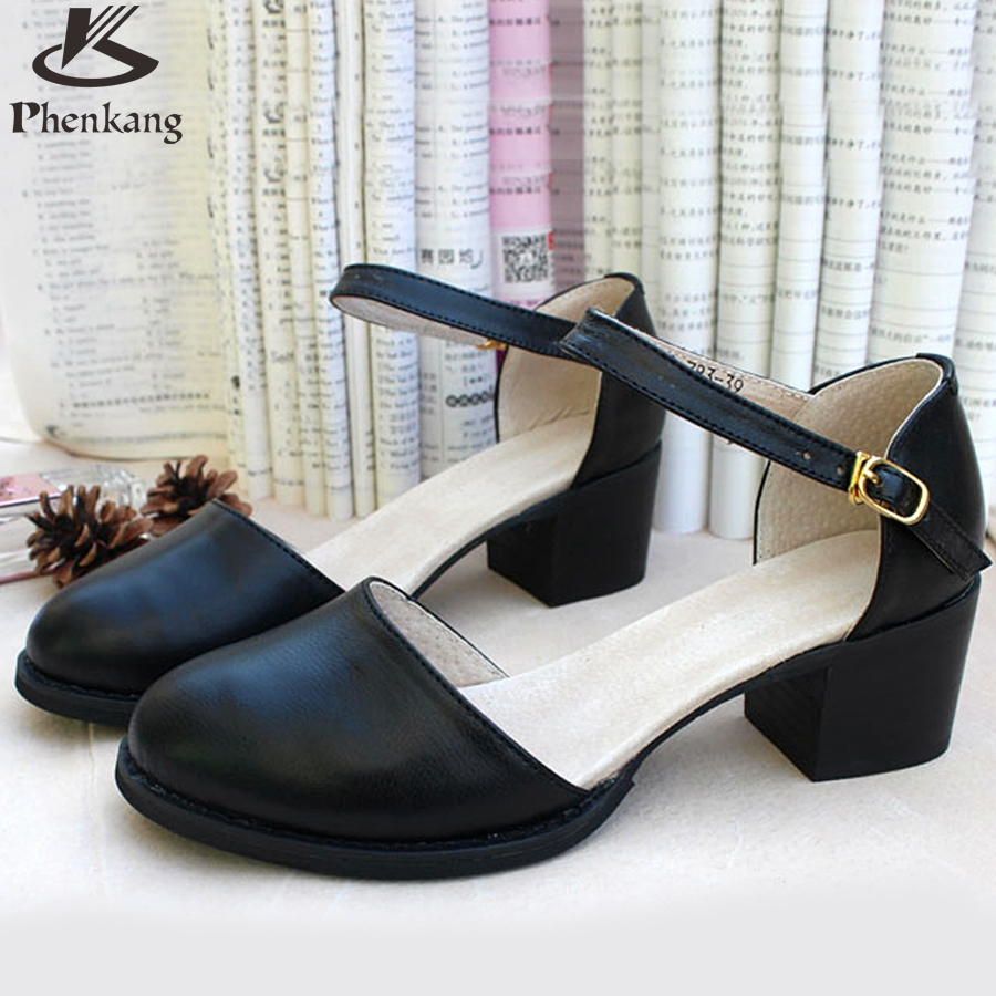 ФОТО 2017 Women Leather Female Hand size 9 black buckle strap pump sandals British Institute of style oxford shoes for women