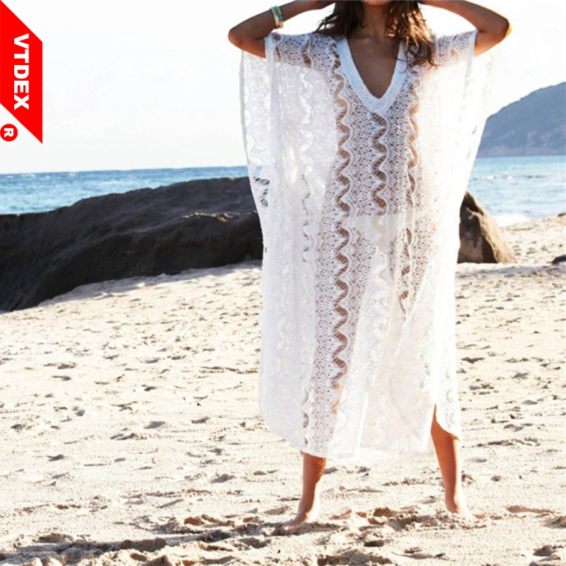2019 Summer Lace Loose Holiday Beach Dress Women White Hollow Out See-Through Sexy Cover Up Playa Pareo Tunics Swimwear