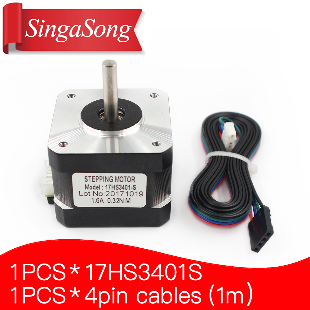 Free shipping and Quality 17HS3401S 4-lead Nema 17HS3401 Stepper Motor 42 motor 42BYGH 1.3A CE ROSH ISO CNC Laser and 3D printer
