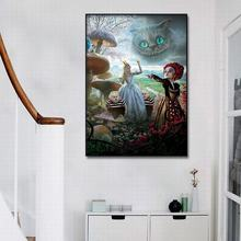 Canvas Wall art print Anime cartoon Alice in Wonderland Wallpaper oil painting Poster Pictures Frame for Room Decor