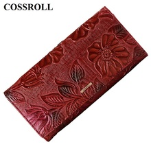 genuine leather wallet women long lady purse  floral female wallets luxury designer real coin purses