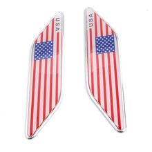 BBQ@FUKA 2pcs United States USA American Flag Front Fender Wing Emblem Badge Car Decals for toyota bmw kia k2 ford focus 2