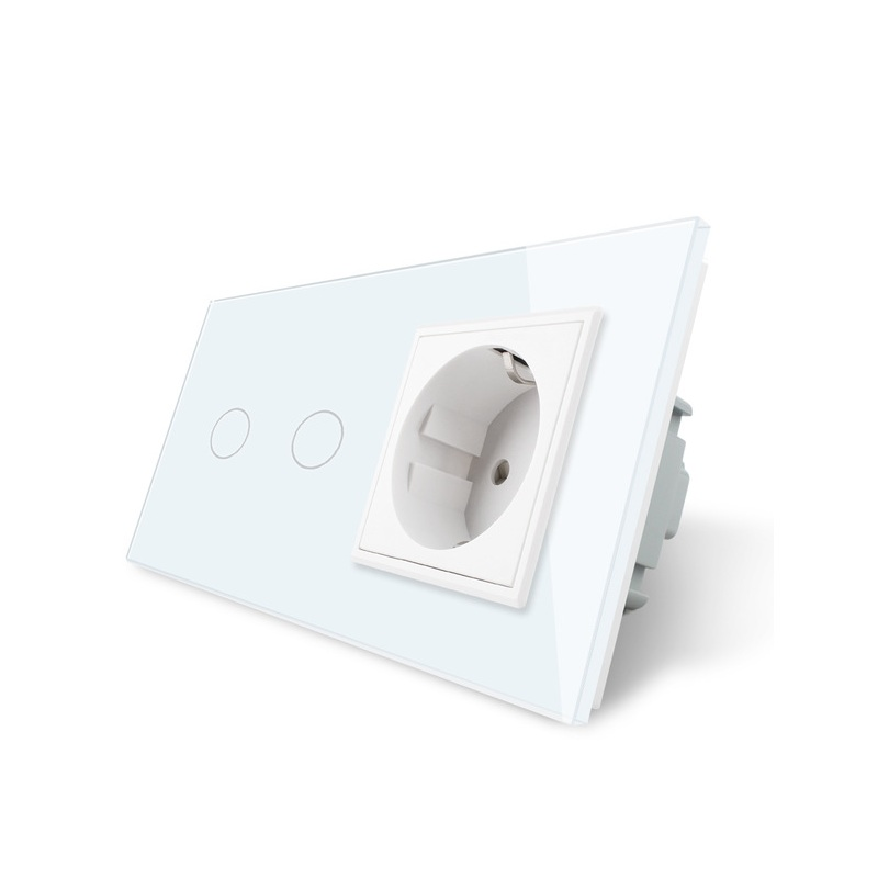 Livolo 16A EU standard Wall Power Socket, White Crystal Glass Panel, Touch Switch with Wall Outlet,OS-02/01EU-1