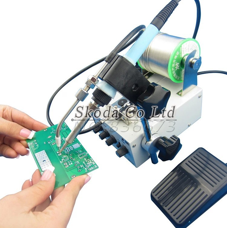 F3100C Automatic tin feeding machine 80W Foot switch send tin constant temperature soldering Station 220V цены