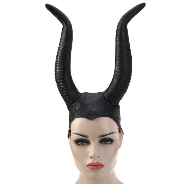 halloween upper hair face thriller devil horns ghastliness black mask ox horn hat cap for cosplay - Devil Horns For Halloween