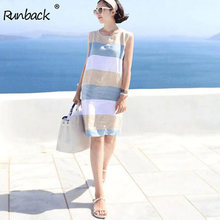 Runback Striped Mini Blue Sundress Women Summer Linen Dress Short Casual 2019 Clothes Plus Size Sexy Beach Boho Dress Club Wear(China)
