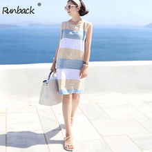 Runback Striped Mini Blue Sundress Women Summer Linen Dress Short Casual 2019 Clothes Plus Size Sexy Beach Boho Dress Club Wear