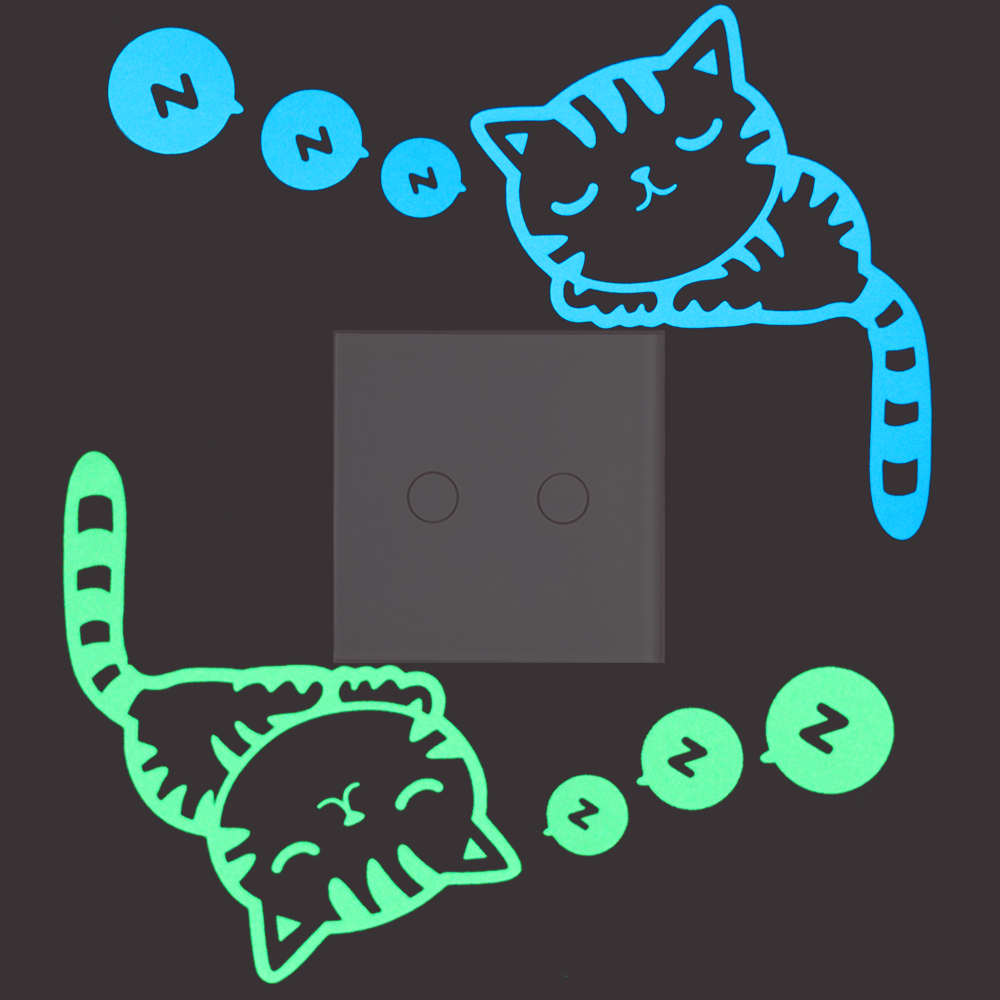 Buy Lovely Sleeping Cat Luminous Switch Sticker Glow in Dark Cartoon Cat Wall Sticker for Kids Bedroom DIY Personalized Decoration for $1.26 in AliExpress store