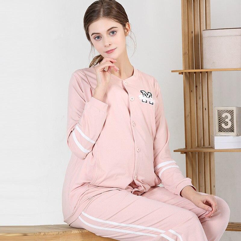2018 Cotton Nursing Maternity Pajamas pajamas For Lactating Mothers Clothes Autumn pajamas Breastfeeding
