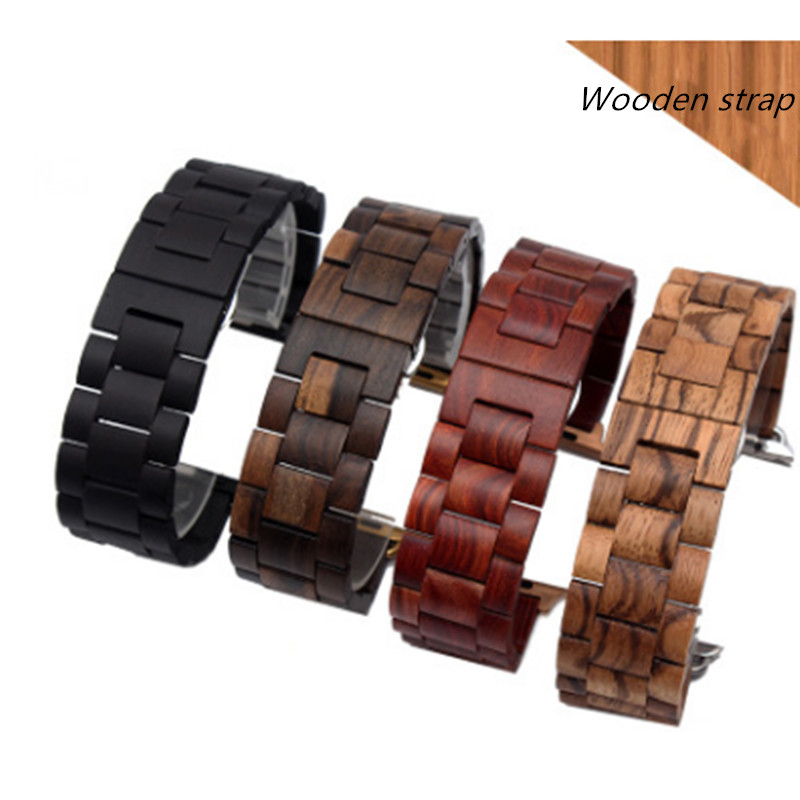 Solid Wood Watch Belt Sandalwood Black Wood Strap Adapted To Apple Iwatch1/2/3 Men and Women 38MM 42MM