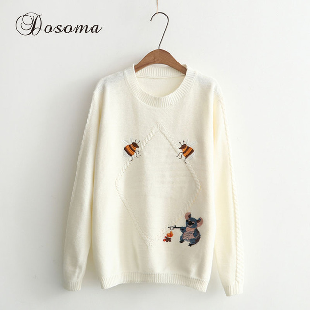 Embroidery Bee & Mouse Women Sweaters Autumn Pullover Sweaters ...