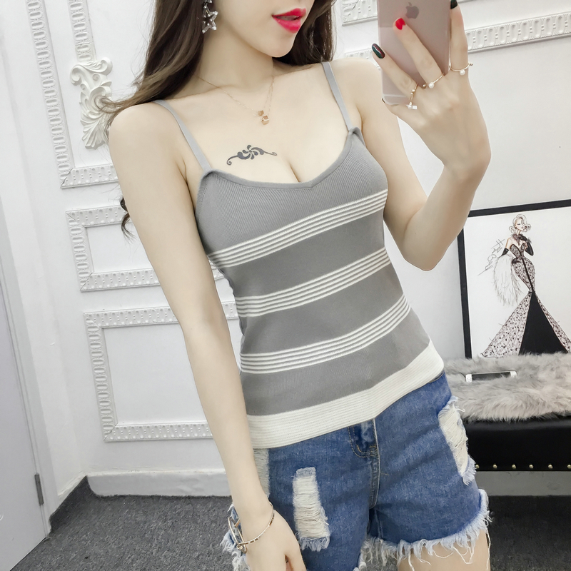9956cb49d71b3 Women Knitting Stripes Tank Tops Camises Girls Knitted Basic Stretchy  Knitwear Camisole Sleeveless Sweater Tee shirts Camis-in Camis from Women s  Clothing ...