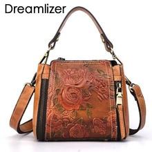 Small Vintage Brand Women Genuine Leather Flap Bags Flower Pattern Leather Ladies Handbag Bags Female Bolsa Shoulder Bag Ladies цена