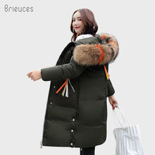 Brieuces Autumn Winter Jacket Women Hooded Coat Large Fur Thicken Wadded Down Cotton-Padded Long Parkas