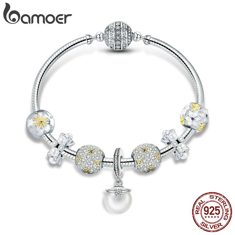 BAMOER 925 Sterling Silver White Daisy Flower Dazzling CZ Pendant Bracelets Bangles for Women Sterling Silver Jewelry SCB806 bamoer original 925 sterling silver dazzling daisy flower stud earrings for women jewelry pas434